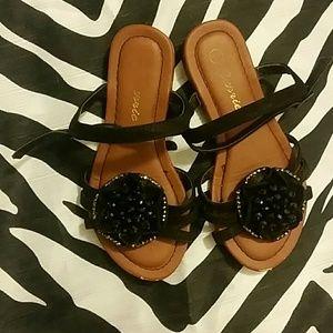 Other - Black rhinestone flower sandals *girls sz 11